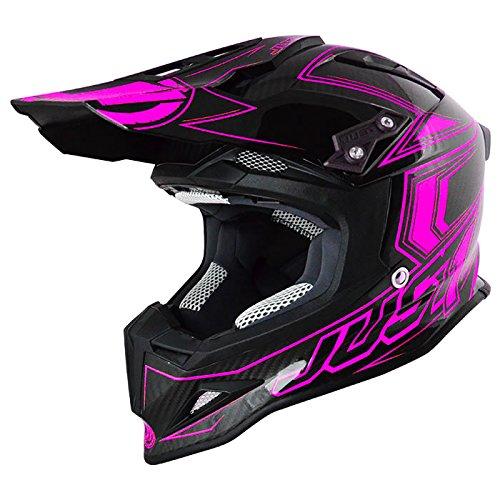 Just 1 Helmets 606320080101705 Casco J12 Carbon Fluo Pink, L