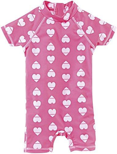 lupilu Mädchen UV-Schutz-Anzug für Wasser und Strand (Einteiler - Rosa/Herzen, Gr. 98/104)