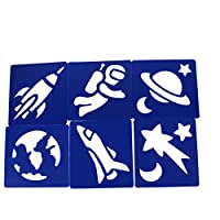 Plastic Star, Rocket & Planets Art Stencils Great for Kids Space Galaxy Drawings Pack of 6 by BCreative ®