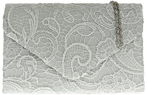 H&G Ladies Satin Lace Clutch Bag Shoulder Chain Elegant Wedding Evening Womens - Gold Silver
