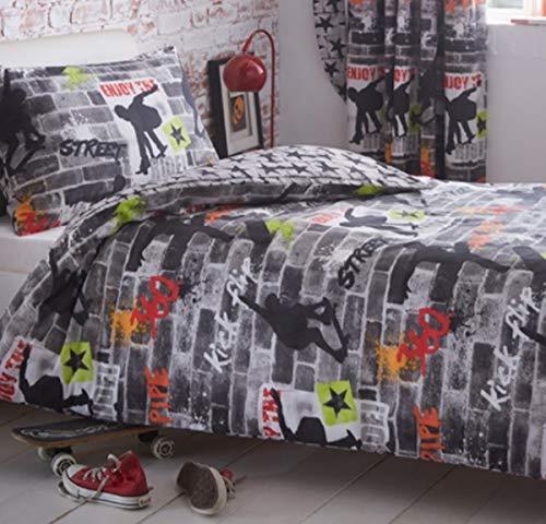 Kidz Club Jugendliche Einzelbett Bettbezug und Kissenbezüge Bettwäsche-Set Cool Skateboards und Graffiti Bettbezug Set-Tricks, grau (Jugend-clubs Und)