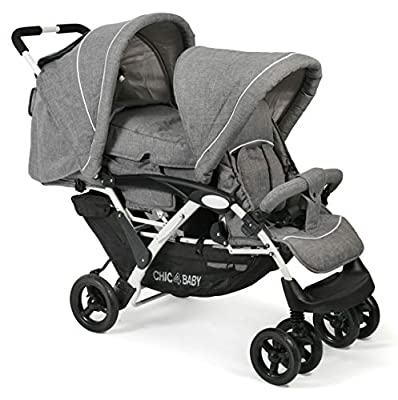 CHIC 4 BABY 274 60 Duo - Carrito para hermanos, color gris, blanco y gris