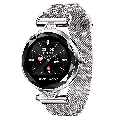 TechCode Schrittzähler Tracker für iPhone, Pulsmesser Fitnss Tracker Smart-Armband mit Blutdruck-Farbbildschirm Bluetooth-Smart-Armband Schrittzähler Wearable Sport Tracker für Damen Herren - Silber (Wearable Tracker)