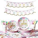 DreamJing 114pcs Vaisselle Assiettes avec Vaisselle Assiette en Papier Tasse Serviettes Nappe Fourchettes pour Cadeau d'anniversaire Enfants Parfait Accessoires pour l'anniversaire Sert 16 Invités