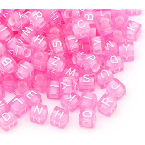 1000pezzi Cubo Alfabeto Lettera perline insieme, in Bigpack 6x 6mm rosa