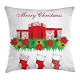 tgyew Christmas Throw Pillow Cushion Cover, Stockings Hanging for Santa Mistletoe Illustration Merry Christmas for All, Decorative Square Accent Pillow Case, 18 X 18 inches, Red Emerald White