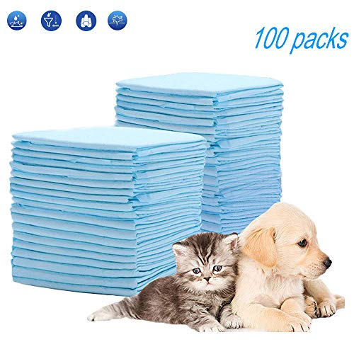Hyadiertech tappetini igienici per cani, telini assorbenti per addestramento cuccioli, pannolini per animali domestici, traverse senza perdite, assorbente, 40 x 50 cm, 100 pezzi (type 3)