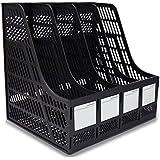 DaKos Multipurpose Plastic 4 Compartments File Rack Paper Holder Desktop, File Holders Organizer Box (Black)