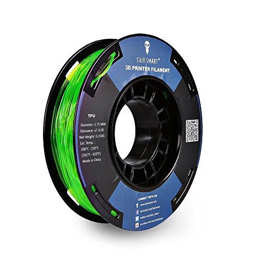 SainSmart Petite bobine Filament 1.75mm TPU Flexible Dimensions 250g, précision de +/-0,05mm 3D, Shore 95A (Green)