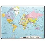 DURABLE 721119 - Sottomano con mappa mondiale, completamente attaccata, antiscivolo, 530x400 mm, trasparente