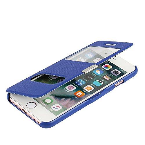 one 8 Hülle, MTRONX Case Cover Schutzhülle Tasche Etui Klapphülle Dual Fenster-Ansicht Magnetisch Twill PU Leder Dünn Folio Flip für Apple iPhone 7 iPhone 8 - Blau(MG2-BU) (Windows 8 Phone Case)