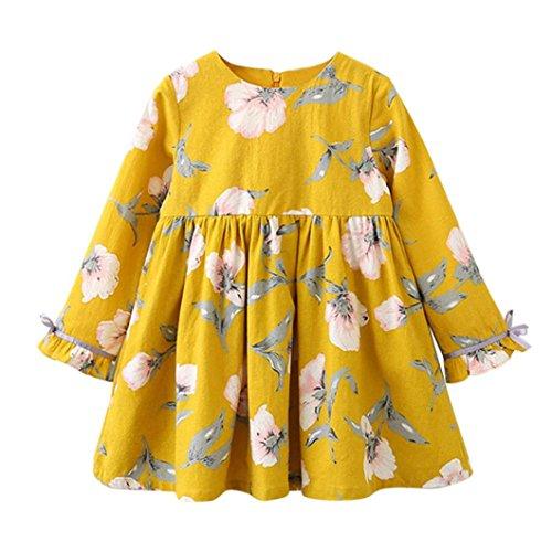Mädchen Kleider Kinder Kleid Longra Weiches Baumwolle Floral Bowknot Kleid Party Hochzeit Beiläufig Prinzessin Kleider (110CM 4Jahre, Yellow)