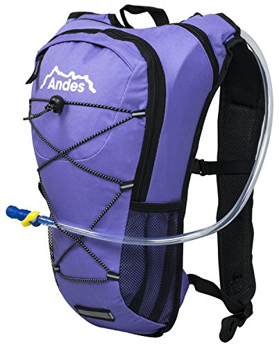 Andes 2 Litre Purple Hydration Pack/Backpack Running/Cycling with Water Bladder/Pockets