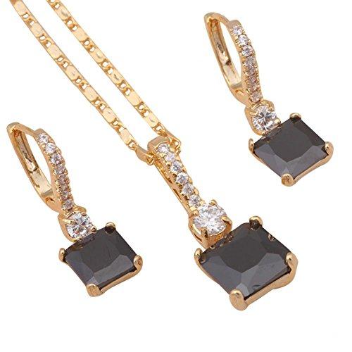 Bling moda cool stile fashion placcato in oro 18K onice migliore qualità collana e orecchini set di gioielli js345a