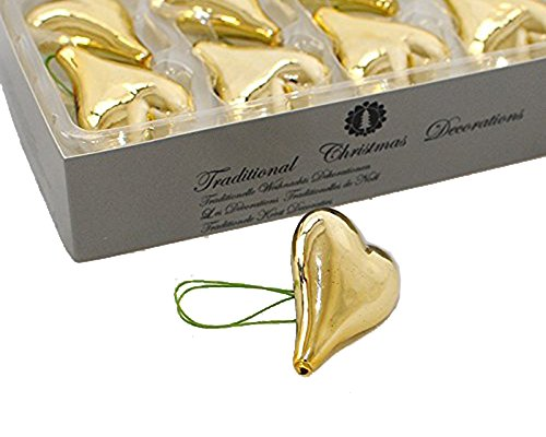 Decorazioni e addobbi 8 cuori in vetro soffiato palle natalizie lucide da albero natale 5 cm (oro)