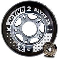 K2 Active 30B3008.1.1.1SIZ - Juego de 8 Ruedas para Patines en Línea, 76 mm, ILQ 5, Tamaño único, Multicolor