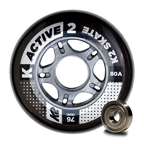 K2 Inline Skates Rollenset 76 mm Active Wheel / ILQ 5 Ersatzrollen & Kugellager  - Schwarz - 8 Rollen inkl. Kugellager - 30B3008.1.1.1SIZ