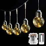 LE Cadena de luces LED 10 Bombillas, 8 Modos, Temporizador, Mando incluido, Blanco cálido,...