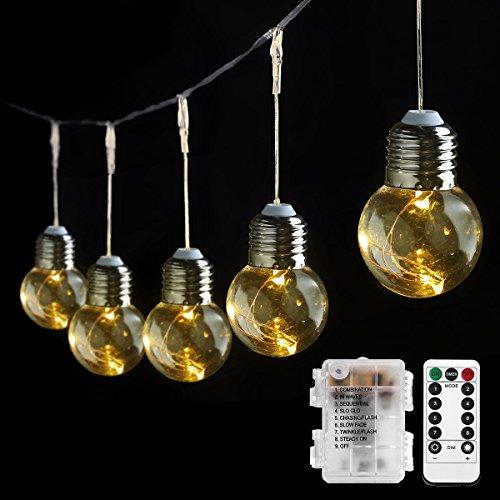 Birne Led Outdoor Laterne (LE Birne Lichterkette warmweiß Batteriebetrieb Kugel Kupferdraht Beleuchtung Deko für Party Weihnachten Dekolampe 10 Birnen)