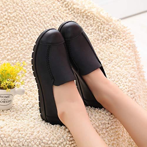 ODRD Sandalen Shoes Freizeit-Dame Im Mittleren Alter Rutschfeste Flache Runde Zehenschuhe Weicher Boden Einzelne Schuhe Strandschuhe Plateauschuhe Freizeitschuhe Turnschuhe Hausschuhe
