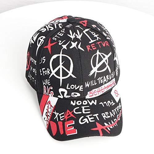 zhuzhuwen Sommerhut weiblicher Sommermode-Baseballmütze männlicher Student Graffiti Hip Hop Gebogene Hut beiläufige Wilde Schirmmütze 4 einstellbar