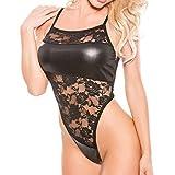 Moonuy Lingerie en cuir faux femmes Sexy sans manches col roulé body Femmes Justaucorps Haut robe mini dos Bodysuit Clubwear robe (A)