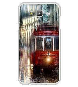 PrintVisa Tram In Rain High Gloss Designer Back Case Cover for Samsung Galaxy E7 (2015) :: Samsung Galaxy E7 Duos :: Samsung Galaxy E7 E7000 E7009 E700F E700F/DS E700H E700H/DD E700H/DS E700M E700M/DS