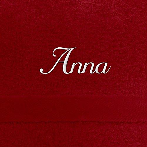 Handtuch mit Namen Anna bestickt, 50x100 cm, rot, extra flauschige 550 g/qm Baumwolle (100{9e831245231dc0dc8606f5af41a8e68c1375af57d2245cbc3af70721fa2b4f0c}), Badetuch mit Namen besticken, Duschtuch mit Bestickung