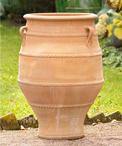 Kreta-Keramik, große frostfeste Terracotta Henkel-Amphore aus Kreta, 80 cm handgemacht hochwertig Garten Außenbereich Dekoratives Tongefäß, Thymus2