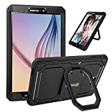 Fintie Stoßfeste Hülle für Samsung Galaxy Tab A 10.1 T580N / T585N - [Tuatara Magic Ring] [360-Rotating] Multifunktionale Stand mit Griff Schutzhülle mit eingebauter Displayschutzfolie, Schwarz