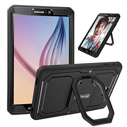 Fintie Stoßfeste Hülle für Samsung Galaxy Tab A 10.1 T580N / T585N - [Tuatara Magic Ring] [360-Rotating] Multifunktionale Stand mit Griff Schutzhülle mit eingebauter Displayschutzfolie, Schwarz - Ring Griff-patent-tasche