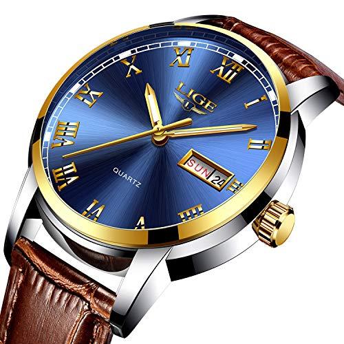 Uhren Herren Casual Fashion Analog Quarz Leder Wasserdicht 30M Kalender Business Kleid Armbanduhr