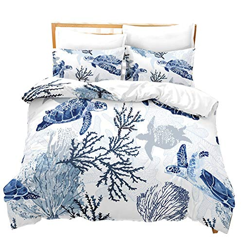 Wifehelper 3D Blue Sea Turtle Bedding Set Duvet Cover Children's Bedding Set Healthy and Comfortable(Twin) -