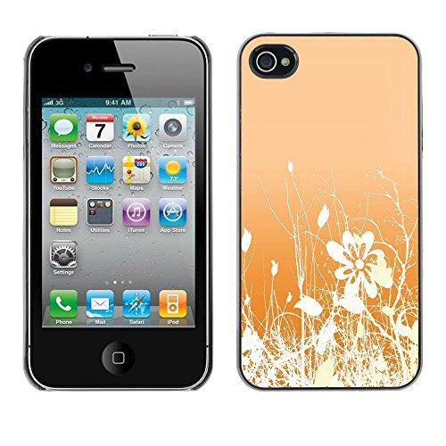 TopCaseStore / caoutchouc Hard Case Housse de protection la Peau - Floral Pattern Orange White Flowers Field - Apple iPhone 4 / 4S