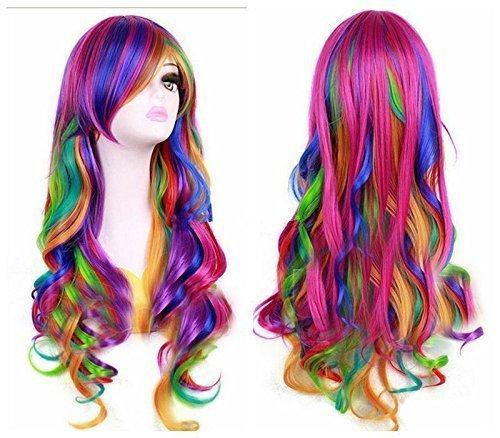 BESTUNG Mode Frauen Regenbogen langes lockiges gewelltes Haar volle Cosplay Lolita Party Perücke +...