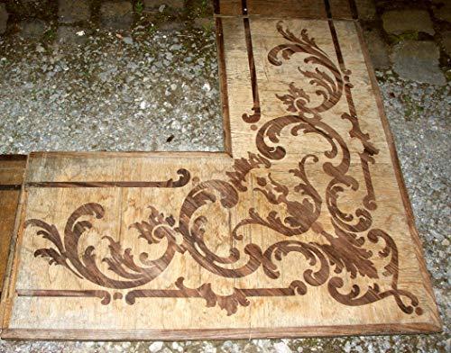Rokoko-schloss (Antike Parkett Umrahmung eines Schlosses, Barock Rokoko, Mitte des 18. Jahrhundert. Palisander Eiche 7,50 m x 3,70 m bzw. 6,75 m x 6,25 m Parkettboden Diele Flur Wohnzimmer Villa)