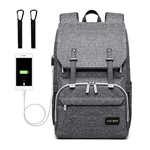 Baby Wickelrucksack Wickeltasche Multifunktional mit USB-Lade Port Oxford Wasserdichte Große Kapazität Babytasche für Reise,Dunkelgrau