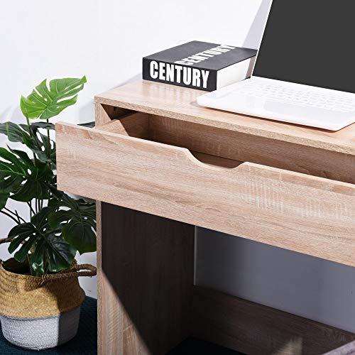 Coavas Escritorio Mesa de Estudio Simple con Caj/ón Frontal 75x79x39.5cm Roble