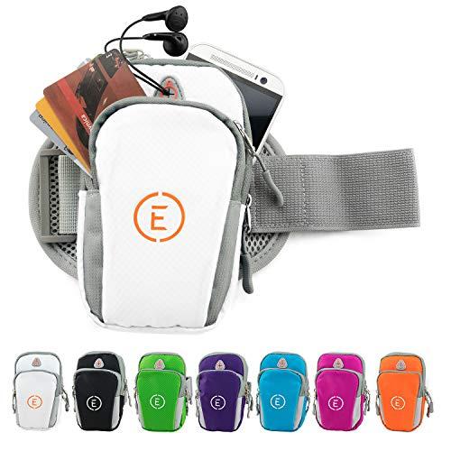 Echelon Line Premium Fitness Armband Handy Hülle Arm Jogging Tasche Rennen Workout Smartphone Laufen Sportarmband Schlüssel Halter für iPhone und Samsung (Weiß)