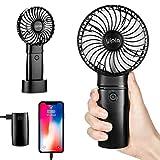 yipin Mini Ventilatore USB Portatile Ventilatori da Tavolo, con 4000mAh Powerbank Function 3 Regolabile Small Fan Home/Office/Travel/Outdoor (Nero)