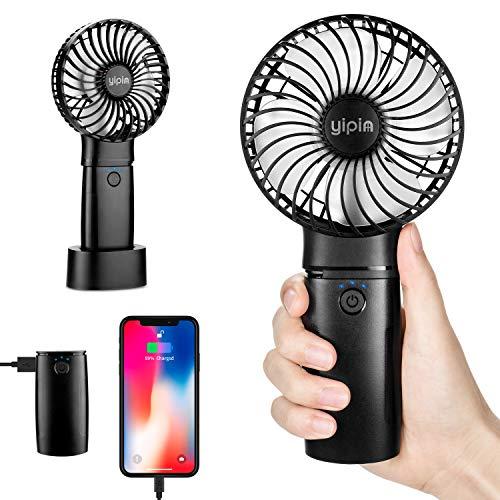 yipin Ventilator Handventilator Mini USB Leise Tragbarer mit 4000mAh Powerbank-Funktion 3 Einstellbare Kleiner Ventilator Für Haus/Büro/Reise/im Freien (Schwarz)
