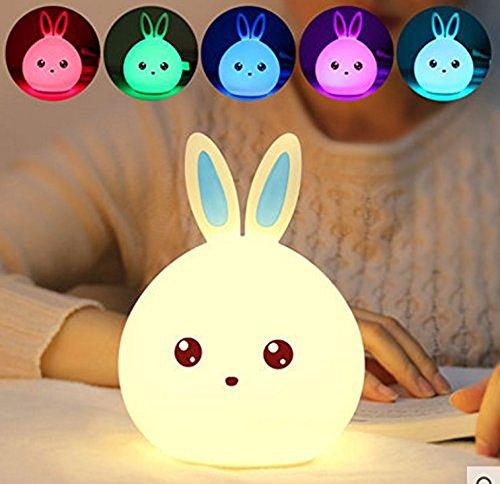 Kaninchen LED Nachtlicht, Weiche Silikon Nachtlampe Kinder Weihnachtsbeleuchtung Kinder Kinderzimmer Lampen Dekor mit Kontrolle 7 Farben, USB Aufladbar für Baby Schlafzimmer, Kinder