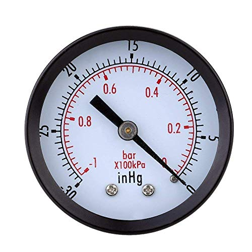 TOOGOO 0 ~ -30inHg 0 ~ -1bar Mini esfera Monitor de presion de vacio de aire Manometro Calibre de presion...