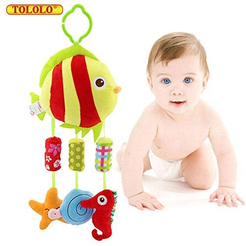 Baby Kleinkindspielzeug Glöckchen Stoff Schöne Bunte Farben für Kinderwagen Hänge-Spielzeug ab 0 Monate,Fisch