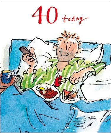 The Quentin Blake Range WDM-456534 Glückwunschkarte zum 40. Geburtstag, zum 40. Geburtstag, mit englischsprachiger Aufschrift