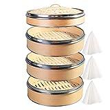 Hcooker 3 Couches Cuisine à Vapeur en Bois avec Double Bande en Acier Inoxydable...