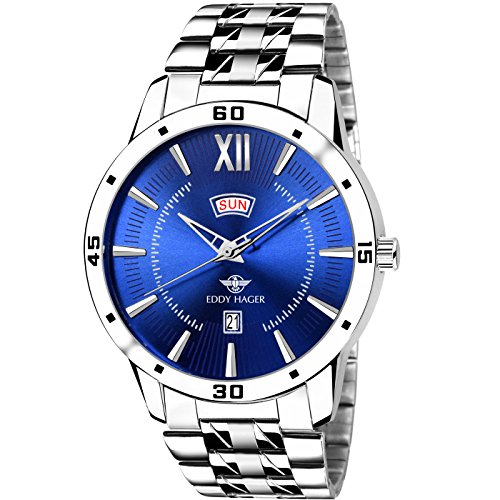 Eddy Hager Round Blue Round Dial Day And Date Displaying Men\'s Watch Eh-212-Bl