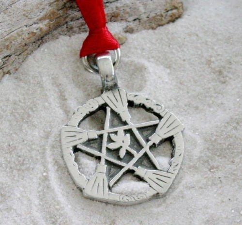 Zinn Hexe Besen Pentagramm Pagan Pentagramm-Halloween Weihnachten Holiday Ornament Dekoration
