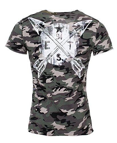 Key Largo Herren Camouflage T-Shirt mit Druck Printshirt vintage Tarn Militär Look Muster slimfit tailliert tiefer Rundhals Ausschnitt military-green