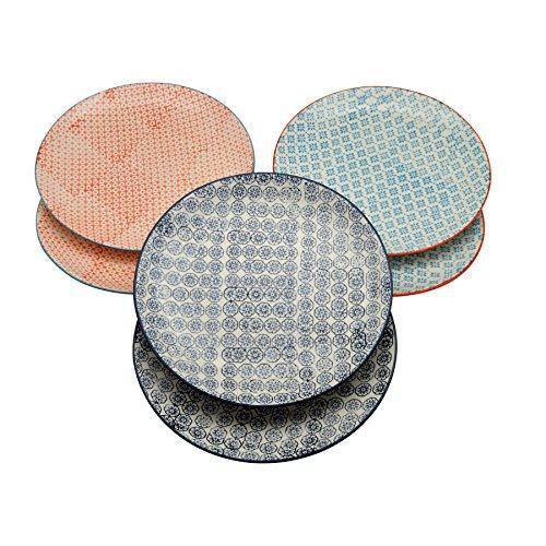 Grandes assiettes ornées de motifs - 255 mm - 3 modèles - lot de 6